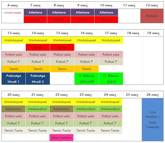 calendari setmanal de l'Olimpiada